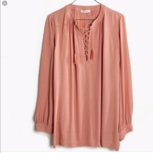 Madewell Tops - Madewell Lace Up Peasant Top in Dusty Rose, NWOT